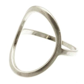 Sliver Oval Cutout Metal Ring