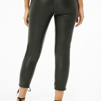 Faux Leather Lace-Up Capri Pants