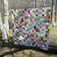 Picnic Patchwork Quilt Queen Size 93 X 93 Classic Americana colors with two matching pillow shams