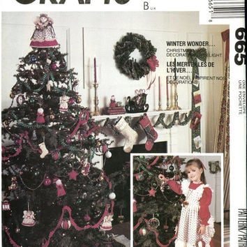 McCALLS 665 CHRISTMAS Ornaments Tree Skirt Table Card Holder Stockings Pinafore Angel Tree Topper UNCuT Holiday Crafts Sewing Patterns