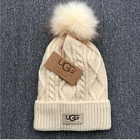 UGG Popular Unisex Personality Winter Warm Knit Hat Cap Beige I
