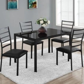 Black Tempered Glass Dining Set - 5 Pcs