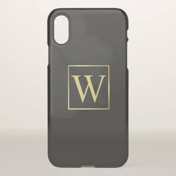 Masculine Monogram Minimalist Gold Frame iPhone X Case