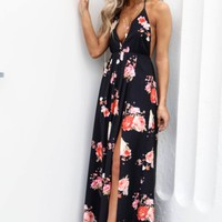 The Point Black Floral Print Maxi