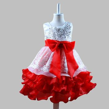 Kids Baby Girls Princess Dress Bridesmaid Wedding Formal Party Flower Tutu Dress