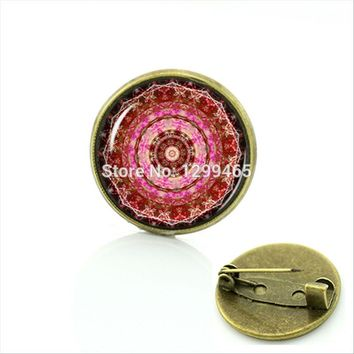 Meditation Buddhist religion Mandala Brooch Antique bronze plated art picture Glass cabochon dome Pins For her,him C394