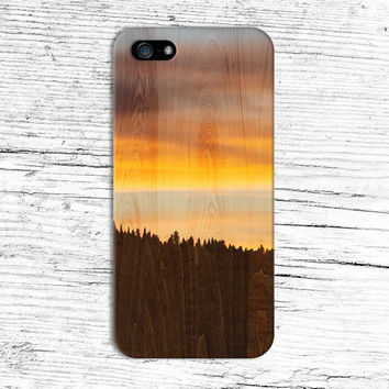 Mountain Sunrise x Wood Grain Design Phone Case for iPhone 6 6+ iPhone 5 5s 5c iPhone 4 4s and Samsung Galaxy s5 s4 & s3