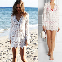 Swimsuit Cover Up Long Sleeve V-neck Lace Beach Swim Suit Beachwear