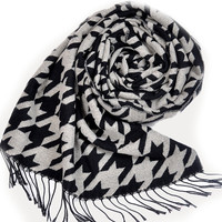 Houndstooth Knitted Tassel Hem Light Weight Scarf