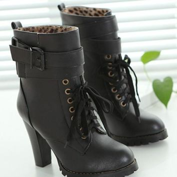 Black Round Toe Chunky Fashion Ankle Boots