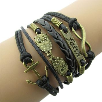 Antique Bronze Anchor Rudder Owl Charm Leather Rope Bracelet Wristband