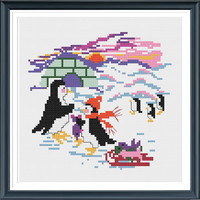 Penguins' Family,Cross Stitch Pattern PDF,Penguin Cross Stitch,Needlework