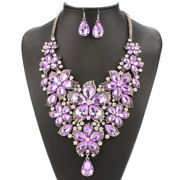 Light Purple Faux Pearl Floral Chain Necklace and Earrings