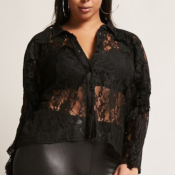 Plus Size Sheer Lace Shirt