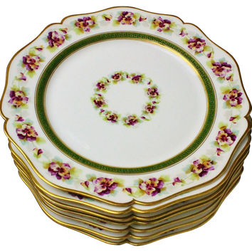 Antique Limoges Pansy Plates, S/7