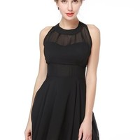 TopStyliShop Women's Sleeveless Black Dress with Pleated