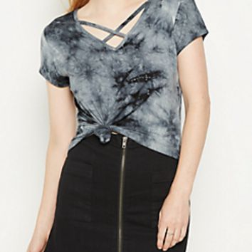 Black Tie Dye Cross Strap Tee