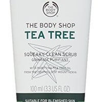 The Body Shop Tea Tree Squeaky Clean Scrub, Daily Facial Scrub Made with Tea Tree Oil, 100% Vegan,...