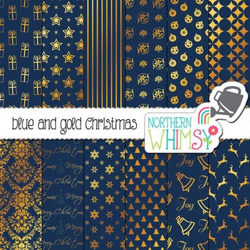 Navy Blue and Gold Christmas Digital Paper – gold foil Christmas scrapbook paper - Christmas backgrounds - printable paper - commercial use