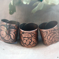 Copper rings Oak, Thorn, Ash - Ethnobotanic rings - Copper rings - Leaves rings - Etched rings -  Forest Elven Rings