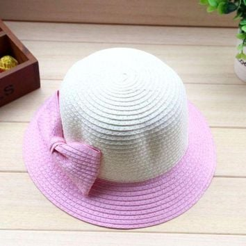 PEAP78W High Recommended Bowknot Straw Beach Baby Girls Sun Hat Bucket Fashion Children Cap 5 Colors