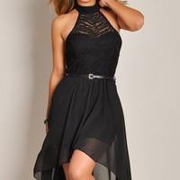 Sleeveless Black Dream Angel Belted Lace High Low Dress