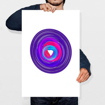 Minimalist Abstract Modern Wall Art Print Nebula Fractal Energy Art Circular Poster Design Bright Purple Wall Art Instant Download