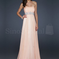 Pearl Pink Strapless Neckline Sequins Chiffon Floor Length Graduation Dress  from SinoSpecial