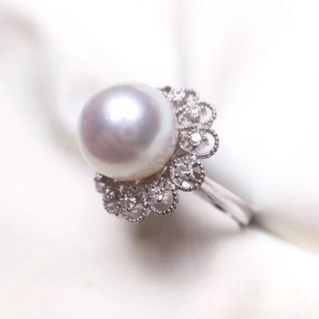 13-14mm White South Sea Pearl Ring Pendant, 18k White Gold w/ Diamond - AAAA