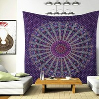 Rona Bohemian Purple Royal Blue Wall Hanging Bed Beach Tapestry