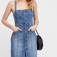 Button-Front Denim Jumper
