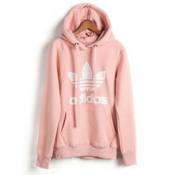 """Womens Pink """"Adidas"""" Print Hooded Pullover Tops Sweater Sweatshirts"""