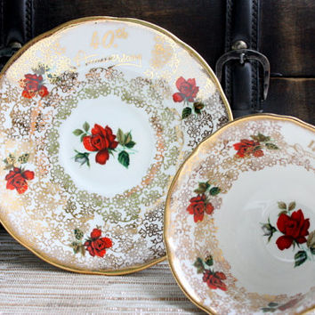 Vintage Elizabethan English Tea Cup And Saucer Set/Coffee Cup/Tea Party/40th Anniversary/Wedding Anniversary/Mother's Day Gift