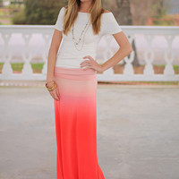 Fade Out Maxi Skirt, Orange