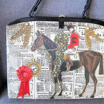 Race Horse Purse, Day at the Races, Racing Form Fabric, Hand Beaded Bag, Vintage 50's Plastic, Estate Find