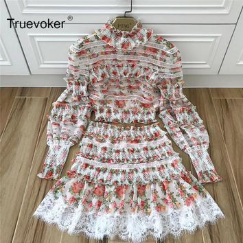 Truevoker Spring Designer Set Women's Noble Fancy Floral Printed Lace Patchwork Crop Top With high Waist Mini Skirt Cute Suit