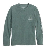 Boys Long-Sleeve Vintage Whale Heather Pocket T-Shirt