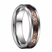Rose Gold Color Celtic Dragon Couples Wedding Rings