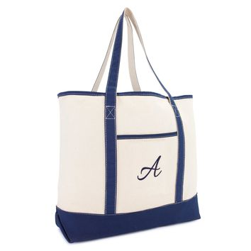DALIX Personalized Tote Bag For Women Monogram Initial Open Top Navy Blue A-Z