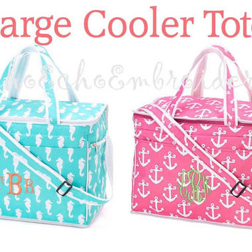 Large Cooler Bag Aqua Seahorse or Pink Anchor - Personalized Monogrammed Name