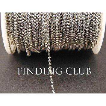 New factory price 10 Meters 2mm Rhodium Plated Metal Ball Bead Chain Jewelry Necklace Findings in Bulk C46