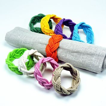 Sailor Knot Napkin Rings, Tropical Colors, Set of 4