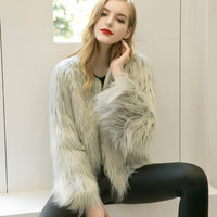 Luxury Faux Fur Coat Women Coat Fashion 2017