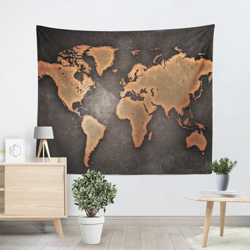 Rustic World Map Tapestry