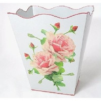 "White French Vintage Look Wastebasket 12"" x10"" x10"""