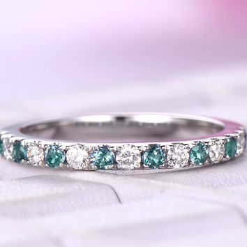 Alexandrite Diamond Wedding Band Half Eternity Ring 14K White Gold 2mm