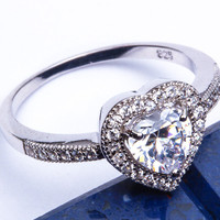 PROMISE LOVE HEART! Russian CZ Heart .925 Sterling Silver Ring Sizes 4-12