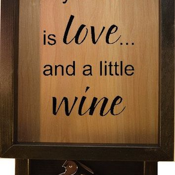 "Wooden Shadow Box Wine Cork Holder with Corkscrew 9""x15"" - All You Need Is Love And A Little Wine"