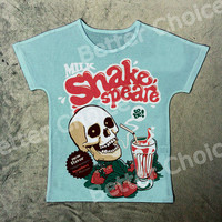 Vintage Retro Rock&Roll Punk T-shirt Top Tee Blue Skeleton Milk Shake Speare Strawberry Cup Shakespeare Drink 0014