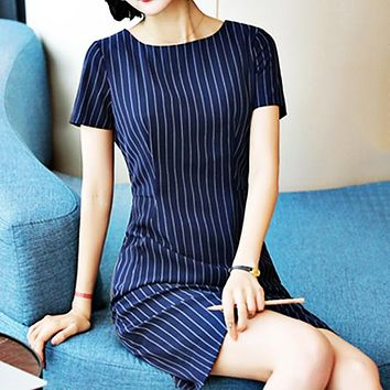 Sexy Stripe Dresses Sexy Stripe Dresses New Style Professional Clothes with Slimming and Recepting Waist Temperament Navy blue